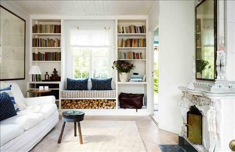 Book storage, living room, window seat