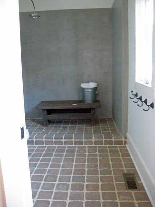 Cool Idea For Mudroom/basement Bathroom Like Simple Maybe No Curb Would Be  Better For