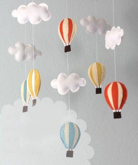 M vil para cuna de beb s con globos y nubes habitac - Manualidades con globos ...