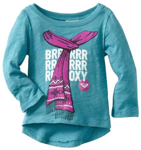 Roxy Kids Baby-girls Infant Frost Bitten Long Sleeve Tee, Current Blue, 6-9 Months - This long sleeve slub tee with scarf graphic is the perfect layer for the cold months to come - Tops - Apparel - $8.81