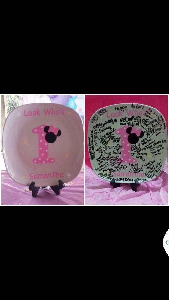 Minnie mouse 1st birthday plate pink by BaberzCouture2012 on Etsy   We Know How To Do It