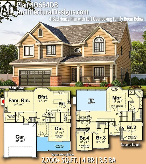 Plan 40654db Handsome Traditional House Plan With Computer Loft Architectural Design House Plans Sims House Plans Family House Plans
