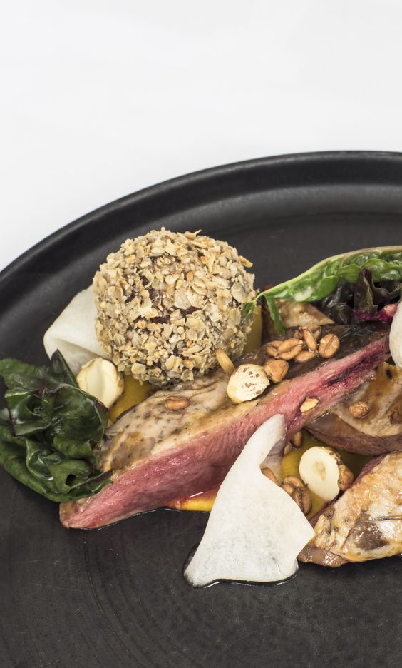 Pine-scented grouse with cobnuts, haggis, neeps 'n' tatties by Paul Welburn