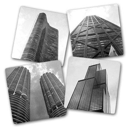 These coasters from CAF feature 4 Chicago landmarks: the Willis (Sears) Tower, Marina City, John Hancock Center, and Lake Point Tower.