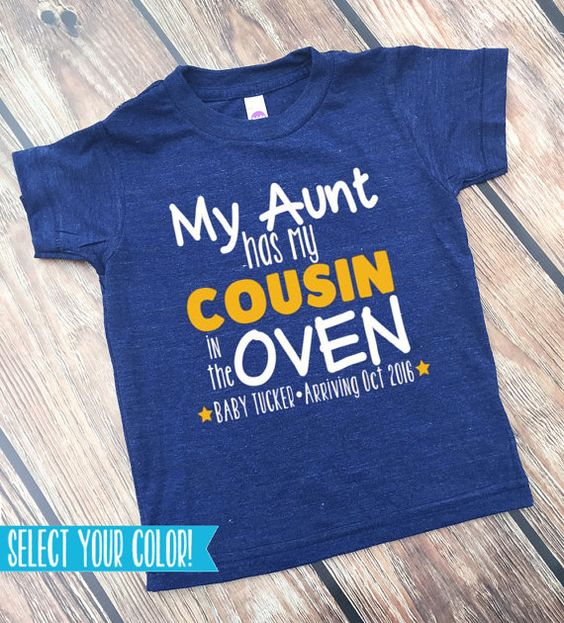 Cousin Shirts - Bun in the Oven - New Cousin Announcement - Announcement Shirts - BIG Cousin Shirt - Personalized Cousin Shirt  www.VazzieTees.com www.VazzieTees.etsy.com