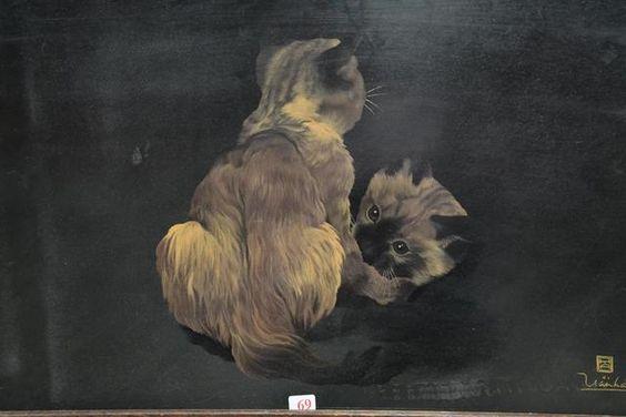 """TRAN HAN : """"Les chats"""". Laque sur panneau. 38,5 X 55,5"""