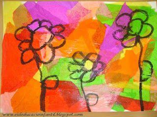 collage papel de seda y encima dibujar con cera negra