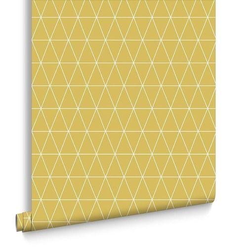 Triangolin Wallpaper Mustard Wallpaper Herringbone Wallpaper Mustard Home Accessories