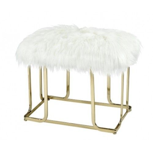 gold cage base white fluffy faux fur