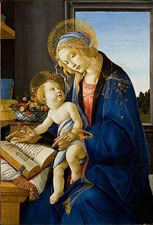 The Madonna of the Book. Botticelli. En esta obra se observa a la Virgen con el Niño en su regazo, como una de las representaciones del cambio de pensamiento del artista.