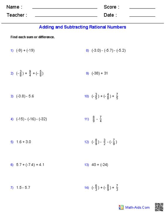 Adding and Subtracting Rational Numbers Worksheets | Math-Aids.Com ...
