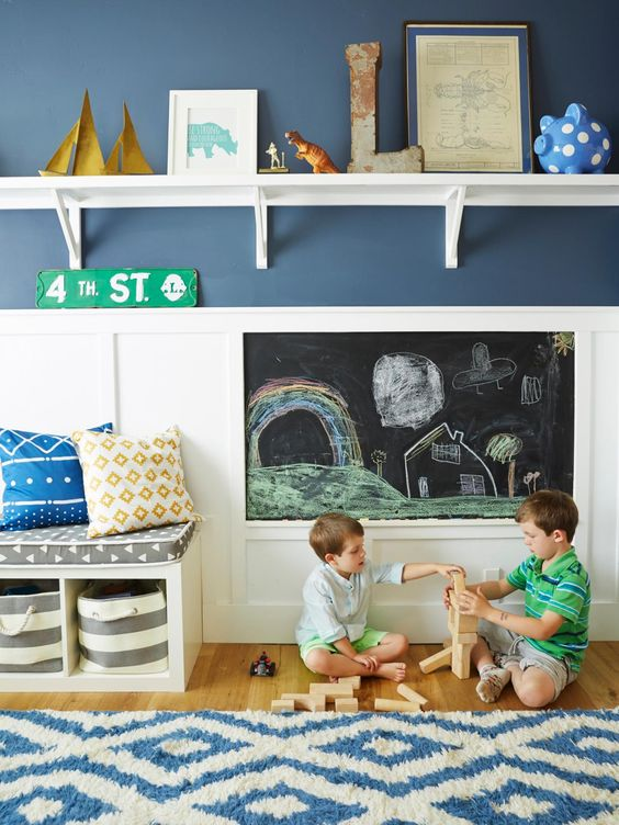 the hand me down house navy and white chalkboard walls. Black Bedroom Furniture Sets. Home Design Ideas