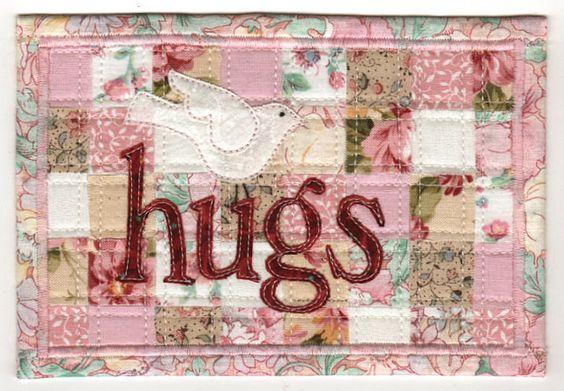 hugs~ fabric postcard  Originally from Fabric Postcard... by  Wanda Redden