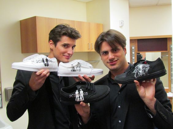 2cellos and their shoes by Traci Loving. Hand painted shoes.
