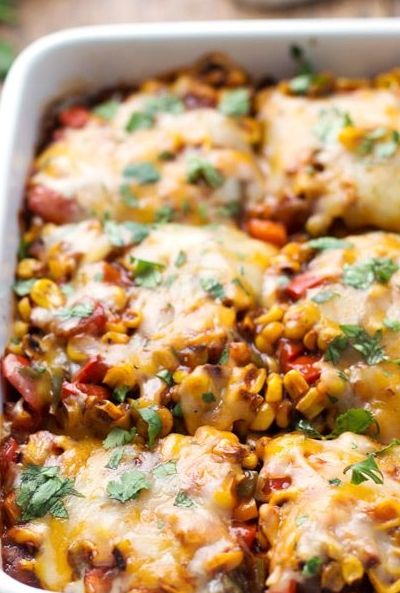 Healthy Mexican Casserole with Roasted Corn and Peppers - naturally vegetarian and gluten free, 230 calories.