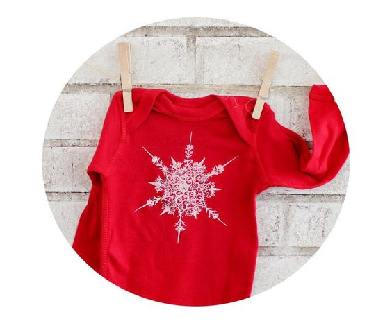 Snowflake Baby One Piece Hand Printed Baby by CausticThreads