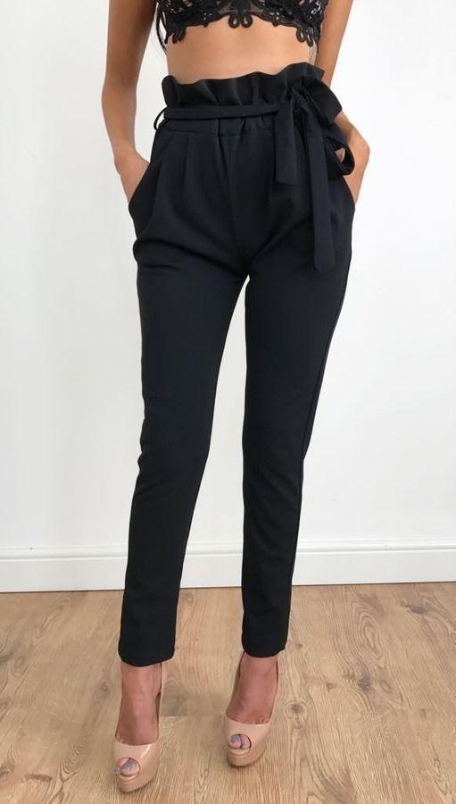 pantalon tailleur ceinture noeud