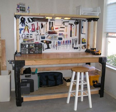 garage workbench i wish mine looked like this garage. Black Bedroom Furniture Sets. Home Design Ideas