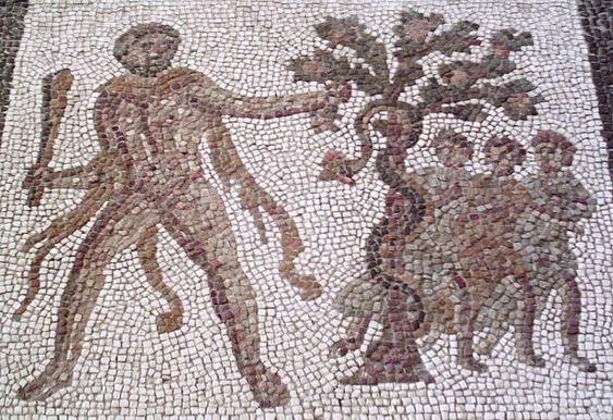 Detalle del Mosaico Romano de los Doce Trabajos, hallado en Liria y conservado en el Museo Arqueológico Nacional, en Madrid: Heracles roba las manzanas de las Hespérides