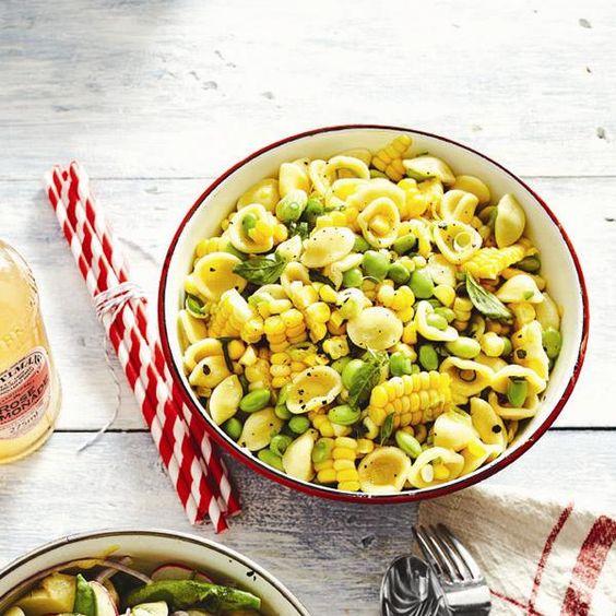 Summer corn-pasta salad
