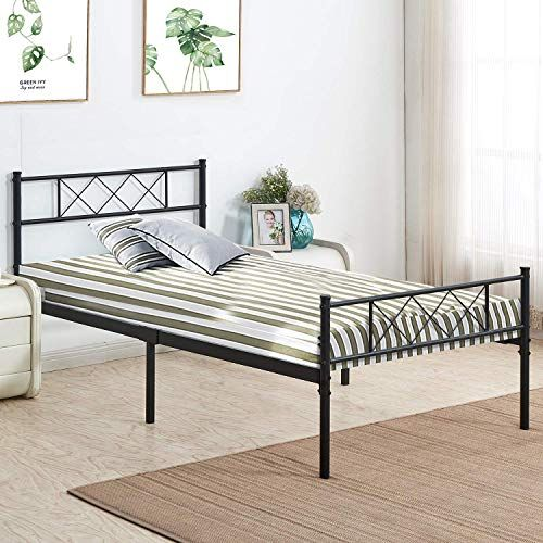 New Vecelo Metal Platform Bed Frame Mattress Foundation Headboard