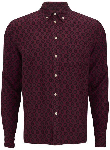 Maison Kitsune Maison Kitsuné Men's Classic Button Down Flying Spark Cotton Shirt Burgundy