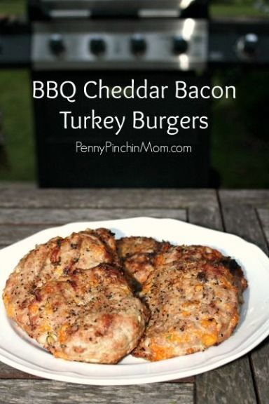 BBQ Cheddar Bacon Turkey Burgers | Recipe | Turkey Burgers, Cheddar ...