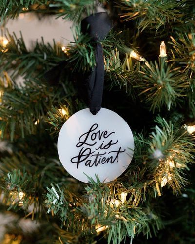 Love Is Patient Christmas Ornament With Customizable Date For Postponed Weddings Customizable Acrylic Christmas Tree Decoration In 2020 Engagement Christmas Ornament Christmas Ornaments Christmas Tree Decorations
