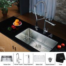 "View the Kraus KHU100-32-KPF1602-KSD30 32"" Undermount Single Bowl 16 Gauge Stainless Steel Kitchen Sink with Pre-Rinse Kitchen Faucet and Soap Dispenser at FaucetDirect.com."