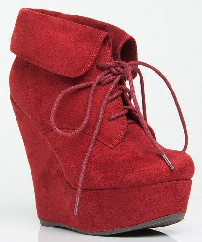 Room of Fashion - Breckelle Carrie-12W Vegan Suede Almond Toe Lace Up Fold Over Cuff Wedge Boot . Item #Carrie12W-redSU