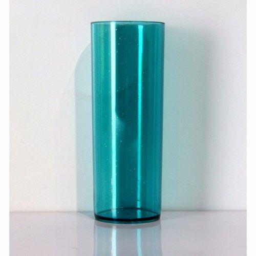 copo acrílico long drink azul tiffany com glitter