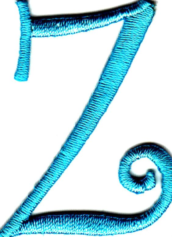 "[Single Count] Custom and Unique (1 3/4"" to 2"" Inches) American Alphabet Monogram Letters Swirl Script Thin Letter Z Iron On Embroidered Applique Patch {Blue Color}"