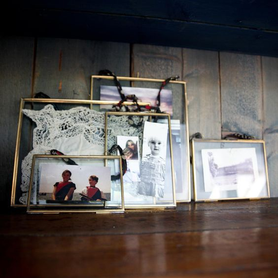 Antique brass recycled metal glass hanging picture frame for Recycled window frames
