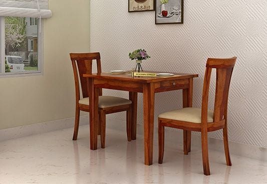 Mcbeth Storage 2 Seater Dining Table Set Honey Finish 2 Seater