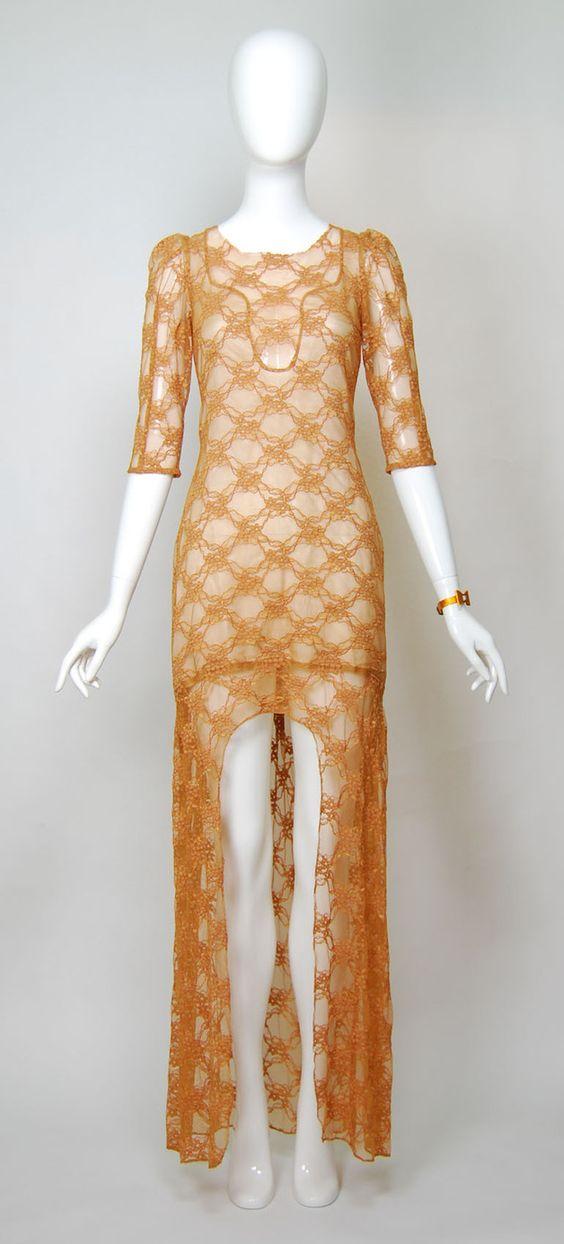 Abendkleider - Kleid beige / haut aus Spitze 36 s Spitzenkleid - ein Designerstück von Dancine bei DaWanda
