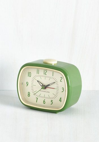 It's About Timeless Clock in Fern by Kikkerland - Green, Tan / Cream, Solid, Vintage Inspired, 50s, Good, Variation