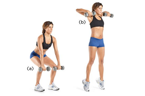 Dumbbell Hang Pull: a power training move that will boost your speed, strength, and metabolism. Click to see all six!