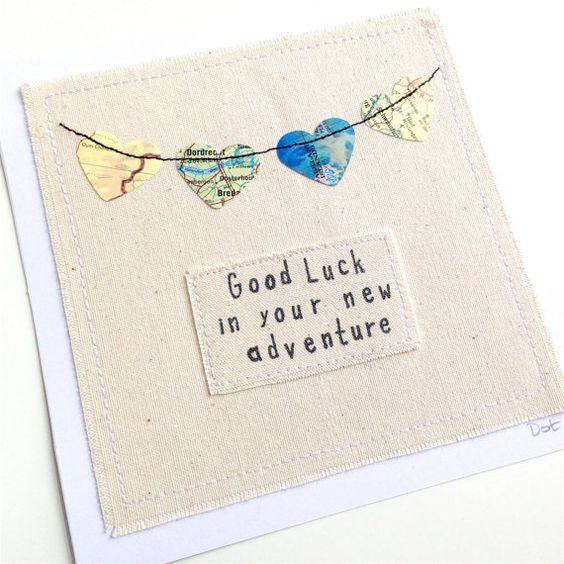 Travel bunting, machine stitched paper hearts greeting card. Personalised unframed. Good luck, travel, adventure, new job, bon voyage