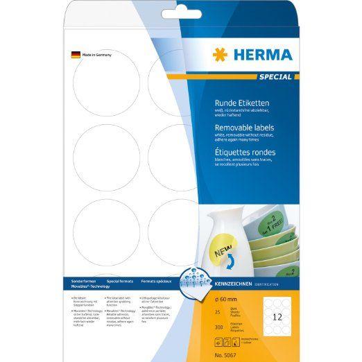 Herma 5067 Etiketten A4 Ø60 mm rund Movables/ablösbar Papier matt 300 Stück: Amazon.de: Bürobedarf & Schreibwaren