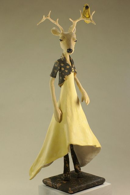 Deer Girl with Yellow Bird - ooak Art Doll Figurative Sculpture by theFiligree, Celena & Martin, via Flickr
