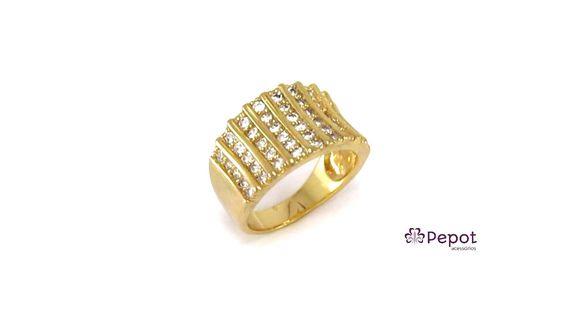 Anel folheado a ouro cravejado com mini zircônia