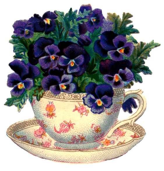 Vintage Graphic - Beautiful Teacup with Pansies - The Graphics Fairy: