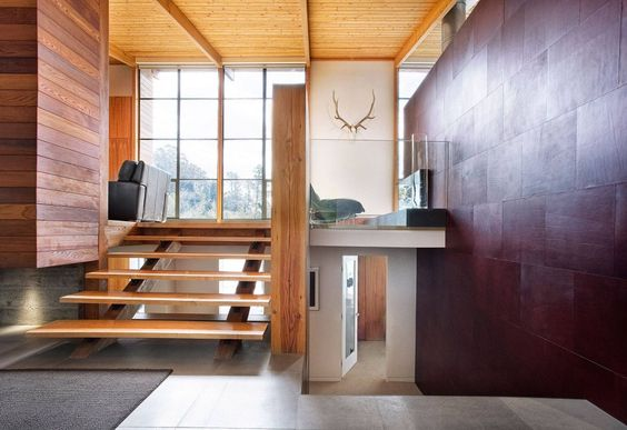 Architecture, Comely Lovell Residence, Modern Split Level House In Mill Valley Featuring Interior Design With Wooden Staircase, Wood Paneled And Marble Tile Wall: Appealing Two Story Residence Designed in Green Lovell Avenue