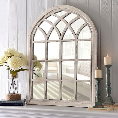 Distressed cream marquis pane mirror mantels arches and for Window arch wall decor