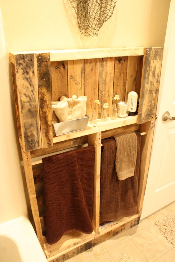 Pallet turned bathroom shelving home accessory ideas for Bathroom ideas made from pallets