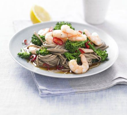 This low-fat Japanese seafood supper uses healthier soba noodles made from buckwheat