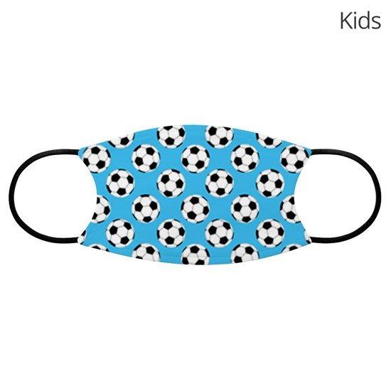 Soccer Ball Pattern Blue Kids Face Mask By Artvixen Cafepress In 2020 Soccer Ball Face Masks For Kids Face Mask