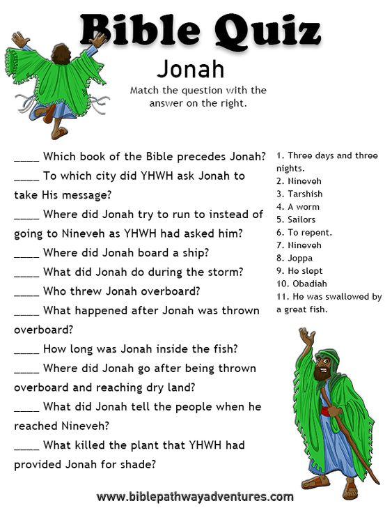 Printable bible quiz - Jonah. | Bible Quizzing | Pinterest