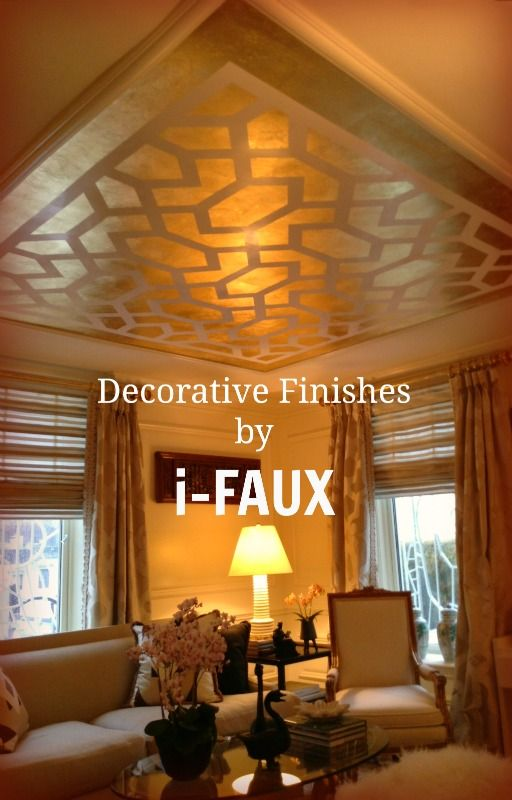 i-FAUX at Kips Bay show house for Barbara Ostrom Associates. Gold-leafing  in patterns over burnished Venetian plaster | For the Home - Walls |  Pinterest ...