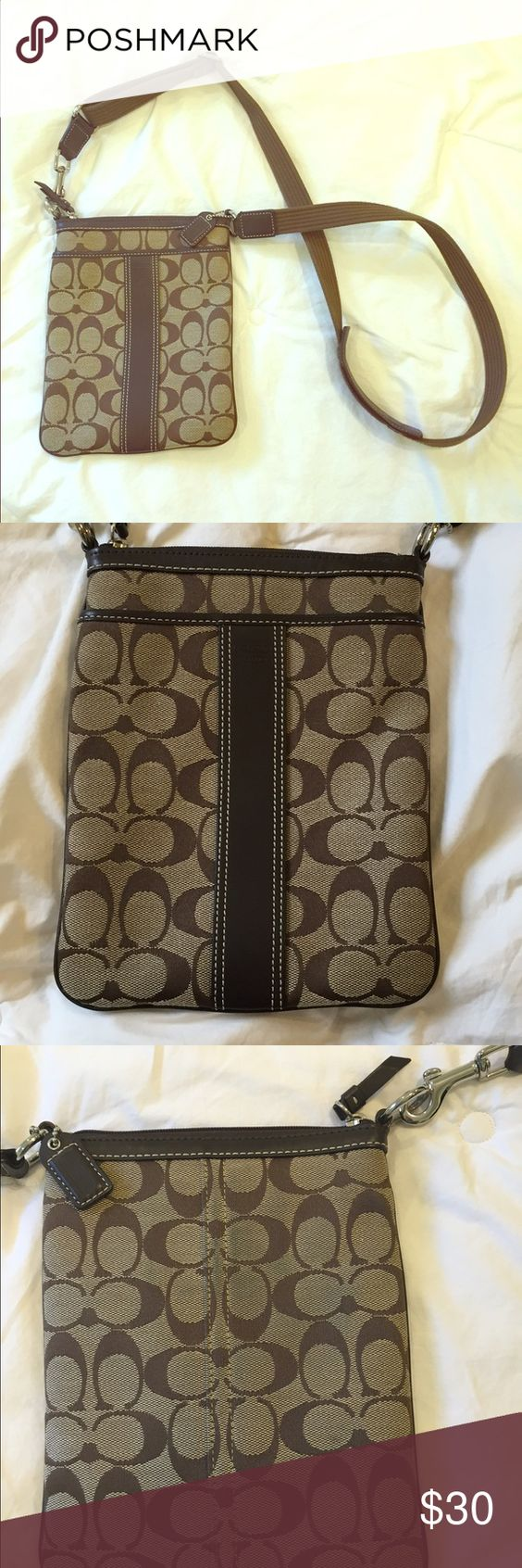 """Authentic Signature Coach Crossbody Purse Authentic Signature Coach Crossbody Bag. Measures approximately 8.5""""x6.5"""" with adjustable strap and zip closure. Functioning front pocket. Has some ink transfer from dark denim on the back, which can be seen in the last photo. Coach Bags Crossbody Bags"""